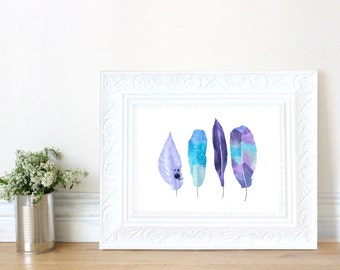 Purple and Turquoise Feathers Water Color Art Print
