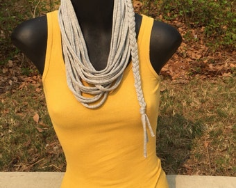Handmade Gray T-Shirt scarf \, perfect for those fall game-days, and cook outs, or go for the boho chic look