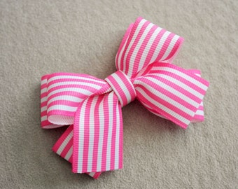 Hot Pink & White Striped Hair Bow Clip