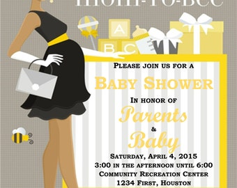 Mom To Bee Baby Shower Invitation - Instant Download