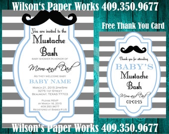 Mustache Baby Shower Invitation - DIY