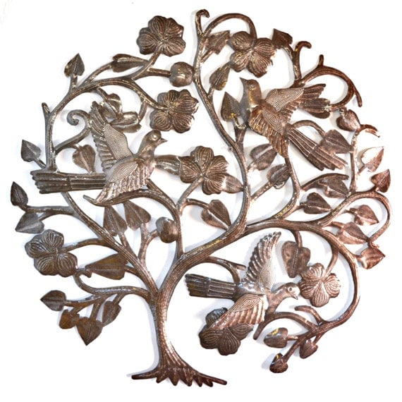 """Floral Garden, Tree of Life,  3-D Wings, Metal Wall Art  Recycled from a Steel Barrel 23"""" x 23"""""""