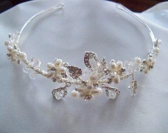 Vintage Look hand wired bridal, flower girl headband, Tiara. Wedding