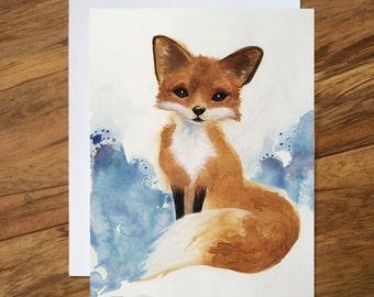 Fox Card, Fox Greeting Card, Pencil Art Blank Card, Happy Birthday Card, Any Occasion Blank Greeting Card