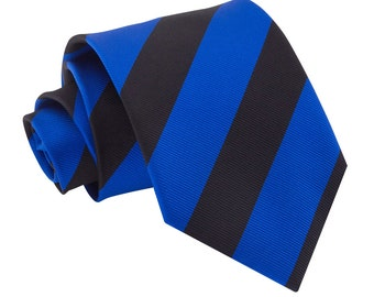 Striped Royal Blue & Black Tie