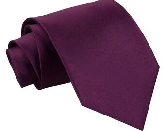 Satin Plum Extra Long Tie