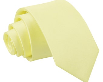 Satin Pale Yellow Boy's Tie