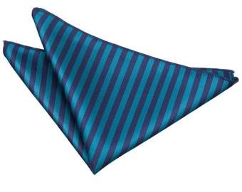 Thin Stripe Navy Blue & Teal Handkerchief / Pocket Square