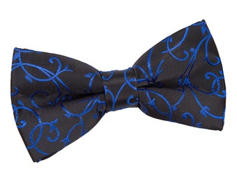 Swirl Black & Blue Bow Tie
