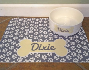 Personalized Dog Food Mat - Paw Print Pattern - Mat Only