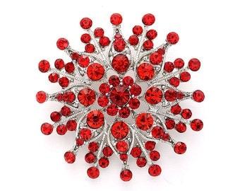 Rhinestone Red Brooch Wedding Bridal Crystal Red Brooches Bridal Prom Dress Sash Cake Neckalce DIY Jewelry Red Broach