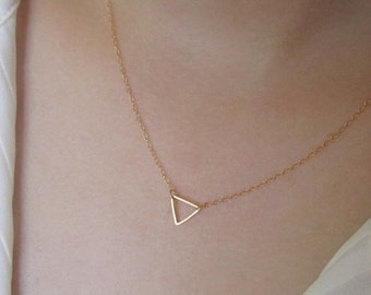 triangle necklace,cute necklace unique necklace gift idea, bridesmaids gift, wedding gift,gold, gold plate
