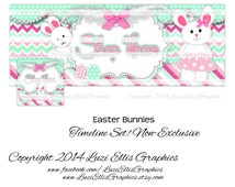 Easter Bunnies, Pink and Mint, Easter Eggs, Tutu, Bow Facebook Timeline Banner & Profile also available as Etsy Banner - non-exclusive