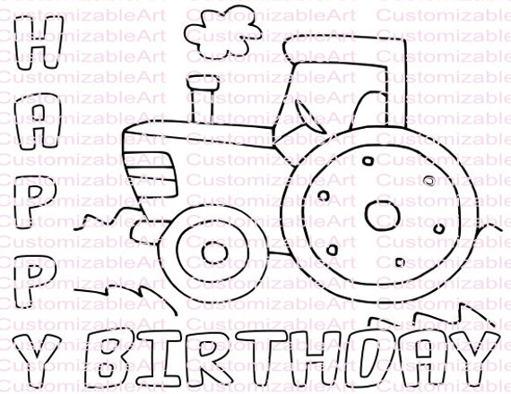 Happy Birthday Tractor Coloring Pages. Tractor Party Favor Coloring Page Printables  Birthday Printable Instant Download