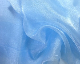 "Baby Blue Crystal Sheer Organza Fabric for Fashion, Crafts, Decorations 58"" By the Yard"