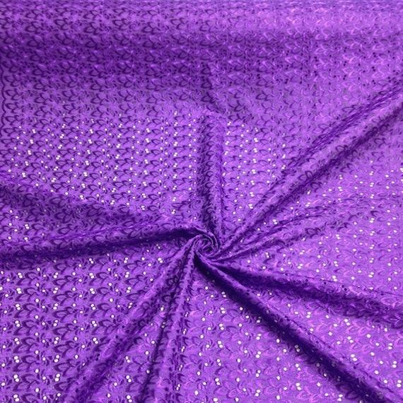 Purple eyelet floral embroidery fabric