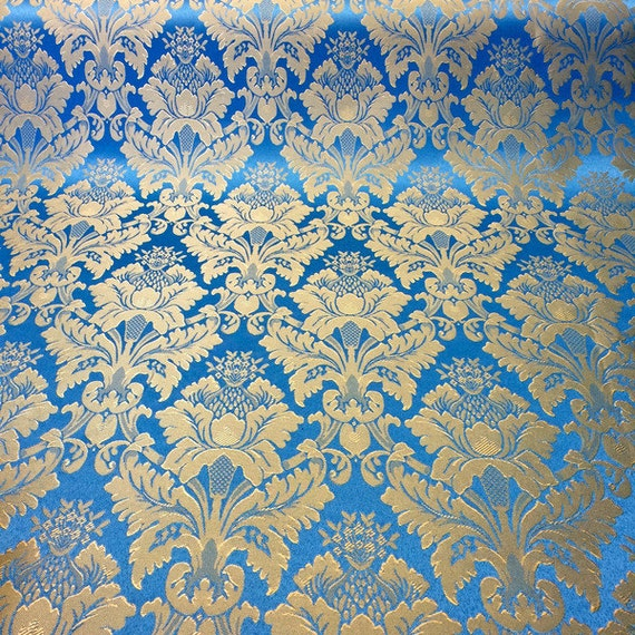 "... / Gold Damask Jacquard Floral Brocade Fabric 118"" By the Yard"