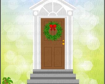 Christmas Door Elf Door with Wreath Design Digital Clipart Instant Download SVG File