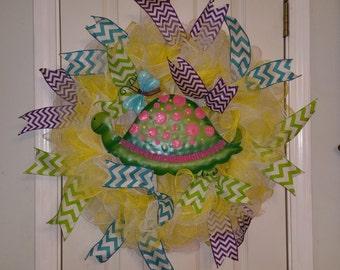 Wreath, Turtle Wreath, Door decor, Spring Wreath, Summer Wreath