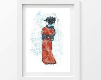 Red geisha postcard - printed on thick paper