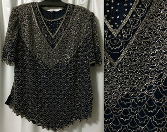 Navy and Silver Beaded Blouse #1369