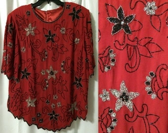 Red beaded blouse