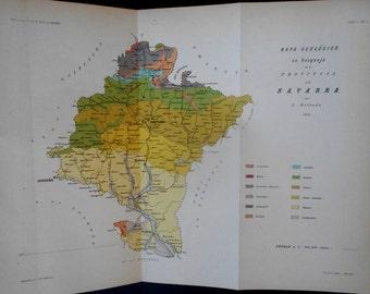 1882: Province of Navarra, Spain. Pamplona, Tafalla, Logrono, Tudela, Estella. Rare Geologic Map by L. Mallada.  Antique