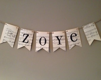 PERSONALIZED Custom sheet music paper banner garland bunting personalized with your choice  name word