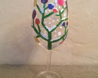 Decorated branch hand-painted wine glass