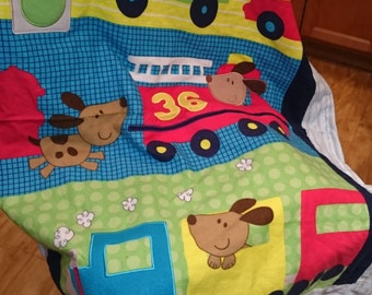 baby blanket- puppie, trucks, and train panel flannel and light blue flannel - 42x36