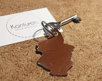 Cologne / Cologne Keychain - key chain, leather, Brown