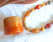 Hand Carved Red and Yellow Jade Archer Ring Banzhi Pendant Necklace
