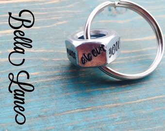READY TO SHIP-Nuts about you hex nut keychain, im nuts about you, nuts for you