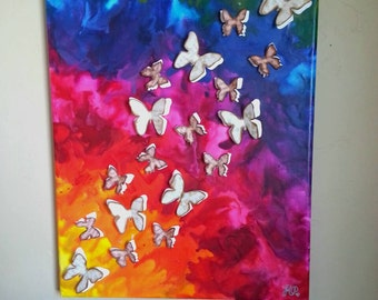 Flying butterfly crayon art