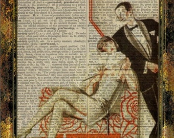 vintage 20s art, flapper, vintage couple on 8x10 upcycled dictionary page