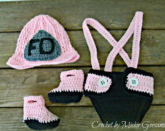 Crochet Girls fireman outfit