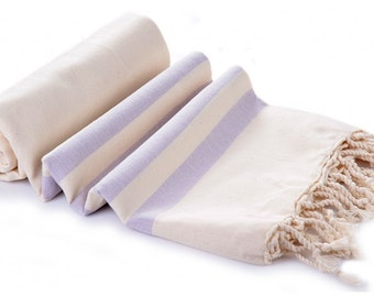 SALE Organic Cotton Beach Towel Lilac Stripes