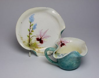 Montigny sur Loing barbotine majolica Art Nouveau orchid cup saucer French pottery