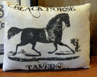 Primitive Vintage Black Horse Tavern Pillow Handmade Tea Dyed Feed Sack Pillow - Cupboard Tuck