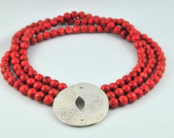 Ying Necklace, Silver and coral