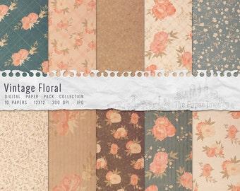 10 Papiers Digitaux Vintage Floral Scrapbook, Papiers Numériques Shabby Chic Fleurs Rétros (30x30 - 300 dpi - JPG) - TELECHARGEMENT IMMEDIAT