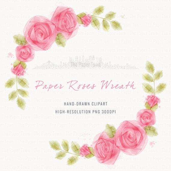 Couronne De Fleurs Roses En Papier Aquarelle 1 PNG Floral