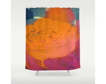 Bright Bleeding Shower Curtain Rose Shower Curtain Abstract Painting Shower Curtain Bright Pink Bright Orange Shower Curtain