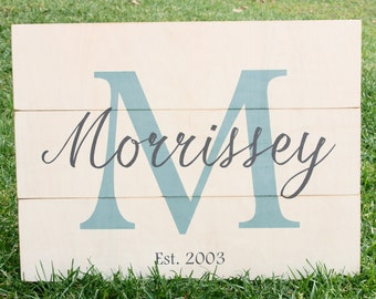 Family Name Sign...24 x 18 inch customizable family name white washed wood plank sign