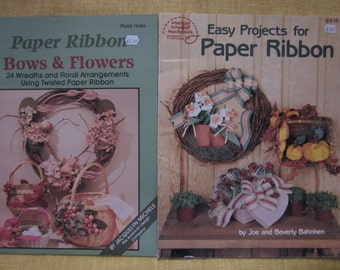 Paper Ribbon,Bows and Flowers,24 easy projects,wreaths,floral arragements,twisted paper craft booklets