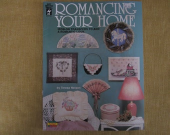 Romancing Your Home,iron on transfers,8 designs, floral,carousel horse,paisley,tole painting,fabric painting