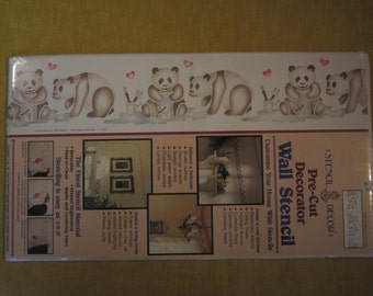 """Paintin' Pandas, pre cut decorator wall stencil,actual size 7""""x14 5/8"""",# 26619,contains 3  18"""" stencils and complete instructions"""