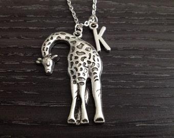 Custom Initial Tall Silver Giraffe Necklace, Giraffe Jewelry, Wildlife Animal Jewelry, Safari Jewelry, Zoo Animal Necklace, Gifts Under 20