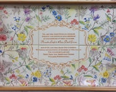 Wedding Invitation duplicated on hand-painted tiles in a wooden tray, couples keepsake, unique wedding gift, couples gift, wedding present