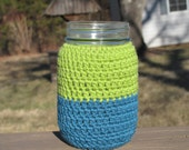 Handmade Blue Green Color Block Mason Pint Jar Sleeve/Cozy/Cover